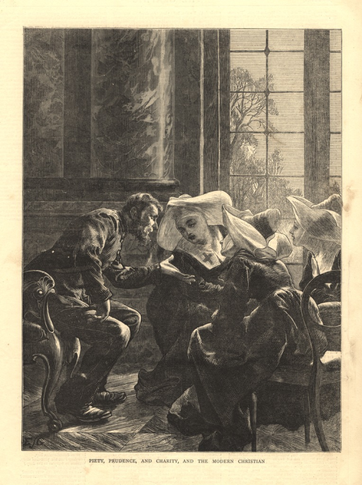 <p>A man leans forward in a chair and talks with a group of nuns, one of whose habits bears the insignia of the Red Cross.</p>