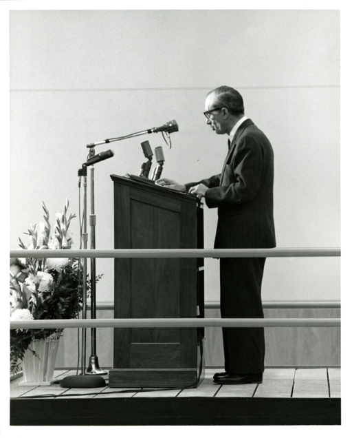 <p>Ambassador to Greece, Alexis S. Liatis, speaks from the podium at the National Library of Medicine Dedication Ceremony.</p>