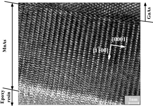 HRTEM image of sample D (MnAs/GaAs (110)). The crystallographic directions of the epitaxial film were indicated with white arrows.