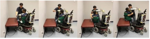 A sequence of photographs of the RATD being used to transfer a person from an electric powered wheelchair to a mat table, by a caregiver.