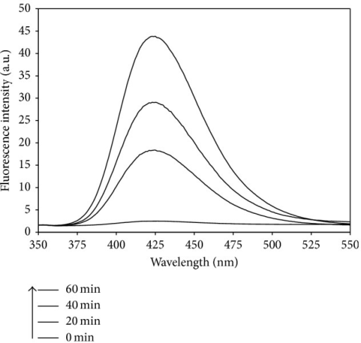 Photoluminescence spectral changes observed during irradiation of the Pt/WO3 sample. (Experimental conditions: NaOH concentration of 2 × 10−3 M, terephthalic acid concentration of 5 × 10−4 M, Pt/WO3 concentration of 200 mg L−1, and simulated solar light intensity of 0.4 mW cm−2.)
