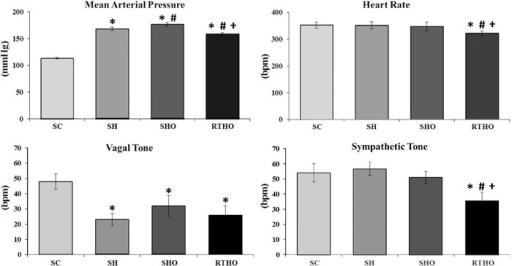 Hemodynamic and cardiac autonomic control in the studied groups. SC: sedentarycontrol; SH: sedentary hypertensive; SHO: sedentary hypertensive ovariectomized;RTHO: resistance-trained hypertensive ovariectomized. *P<0.05vs SC; #P<0.05 vs SH;+P<0.05 vs SHO (one-way ANOVA, followed byStudent-Newmann-Keuls test).