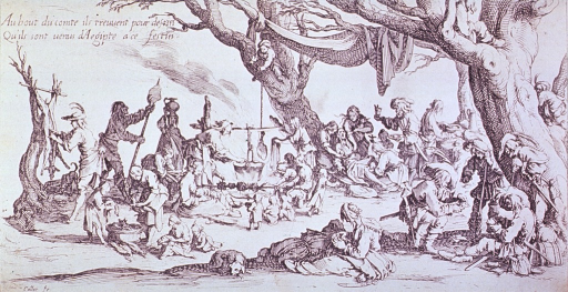 <p>A band of gypsies are camped among a grove of trees; a meal is being prepared, to the left a deer is being dressed, and to the right, in the foreground a group of men are playing cards; in the background, a woman sitting against a tree is giving birth.</p>