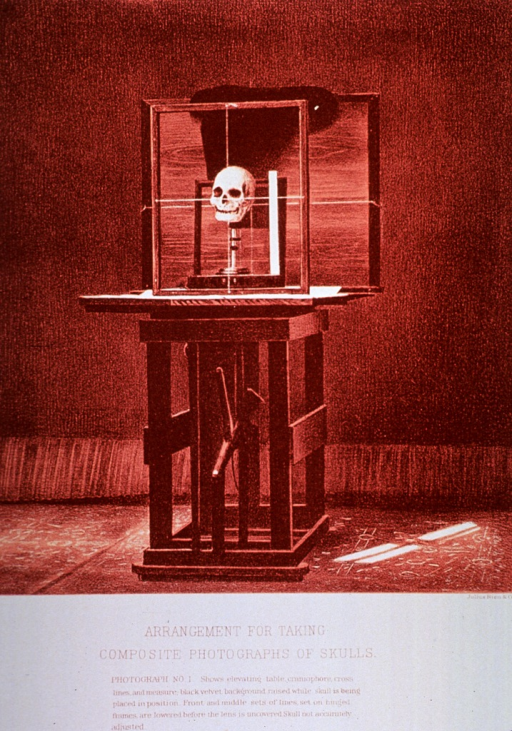 <p>Black and white print of a skull that is being set up for photography. This is &quot;photograph no. 1&quot; that appears in &quot;On composite photography as applied to craniology; on measuring the cubic capacity of skulls, memoirs of the National Academy of Sciences; volume 3, 13th memoir&quot; by J.S. Billings and Washington Matthews.</p>