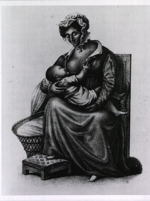 <p>Mother nursing her baby, with her right foot resting on a stool and crib basket nearby.</p>
