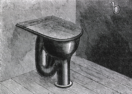 <p>Toilet with hinged cover.</p>