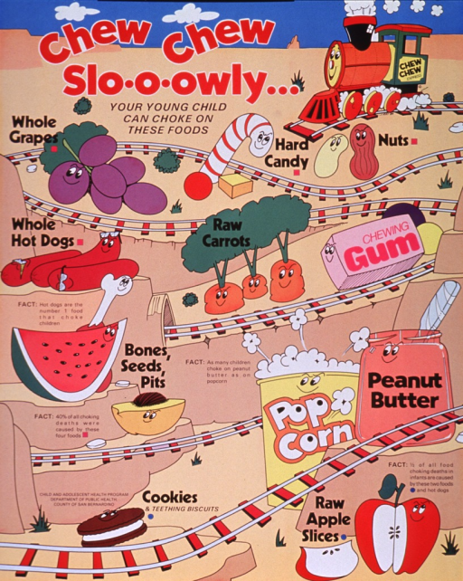 <p>Multicolor poster with red and black lettering.  Title at top of poster.  Visual image is an illustration of a train and its track, with a variety of cartoon-character foods placed beside the track.  The foods all pose a choking hazard for small children and they include whole grapes, hard candy, nuts, whole hot dogs, raw carrots, gum, things with bones, seeds or pits, popcorn, peanut butter, cookies, and raw apple slices.  Text on poster provides facts about leading causes of choking deaths.  Publisher information near cookie in lower left corner.</p>