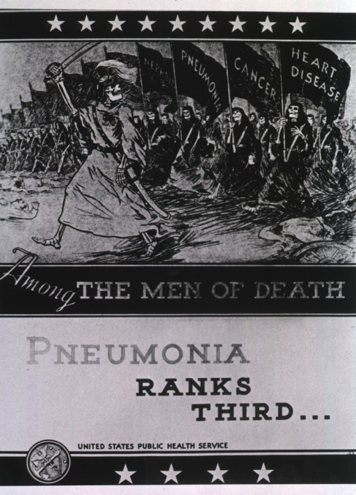 <p>A skeleton raising a sword and wearing military regalia marches across a battlefield strewn with dead bodies in front of a flank of marching skeletons who carry flags emblazoned with &quot;Heart Disease,&quot; &quot;Cancer,&quot; &quot;Pneumonia,&quot; and &quot;Nephritis&quot;.</p>