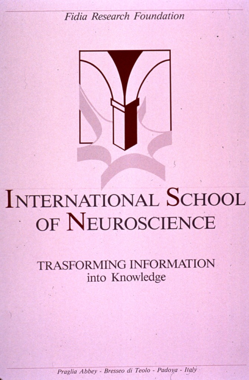 <p>Predominantly white poster with gray and burgundy lettering.  Publisher information at top of poster.  Visual image is an abstract design, part of which resembles a neuron.  Title below image.  Conference location information at bottom of poster.</p>