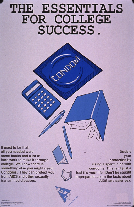 <p>White poster with black print. The visual is in shades of blue and consists of a wrapped condom, calculator, pen, pencil, and open books. The text is on either side of the visual and emphasizes the importance of safe sex--whether it's abstaining from sexual activity, using condoms, and/or having only one partner. It also advises using a spermicide for extra protection.</p>