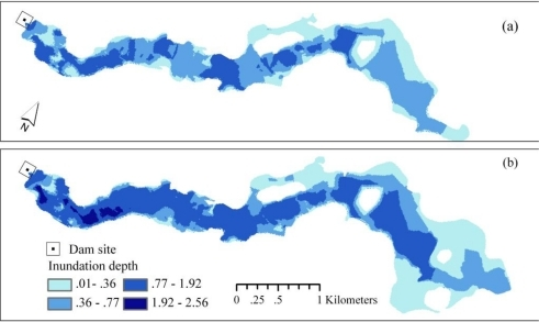Modeled maps of inundation depths in (a) 50-year floods and (b) dam-failure floods under existing conditions.