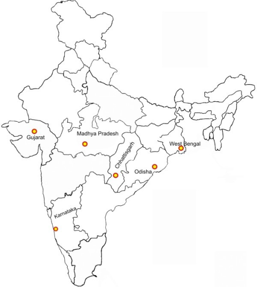 Map of India showing geographical distribution of samples (140 P. falciparum isolates).1. Chhattisgarh (n = 40), 2. Gujarat (n = 20), 3. Karnataka (n = 10), 4. Madhya Pradesh (n = 20), 5. Orissa (n = 30), 6. West Bengal (n = 20).