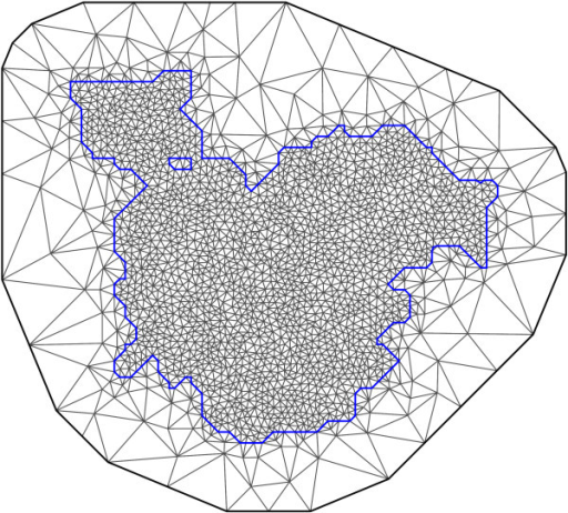 Triangulation of the spatial region. The mesh extends beyond the border of the considered region to correct for edge effects. The maximum allowed triangle edge length was 2 km inside the region and 50 km outside the region. The minimum allowed distance between vertices was 0.75 km. The triangulation consisted of a total of 2248 vertices.