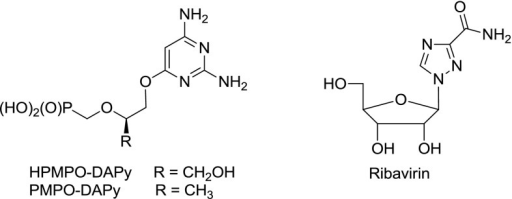 Structures of HPMPO-DAPy, PMPO-DAPy and ribavirin
