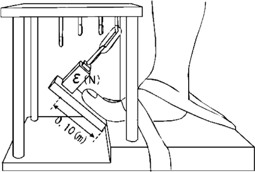 Structure of the torque meter used to measure isometric plantar flexion torque at themetatarsophalangeal (MTP) joints. MTP joint plantar flexion torque was calculatedusing the following formula: plantar flexion torque (Nm) = strain ε (N) × moment arm0.10 (m).