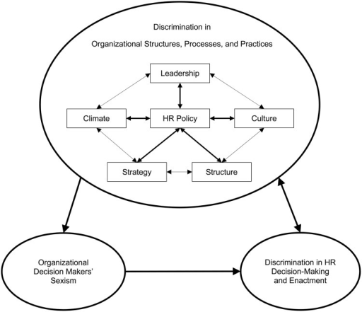 A model of the root causes of gender discrimination in HR policies, decision-making, and enactment.