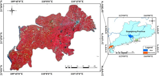 Study area in Suixi County, China.HJ-1 CCD image acquired on 26 October 2013 with a composition of R (4), G (3) and B (2). The HJ-1 CCD images were downloaded from the China Center for Resources Satellite Data and Application. I request permission for the open-access journal PLOS ONE to publish Fig 1 under the Creative Commons Attribution License (CCAL) CC BY 3.0.