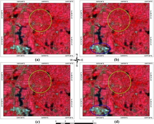 Multi-resolution segmentation using four different segmentation criteria.The base map of the multi-temporal HJ-1 CCD multi-spectral images with the following composition: R (4), G (3) and B (2). I request permission for the open-access journal PLOS ONE to publish Fig 3 under the Creative Commons Attribution License (CCAL) CC BY 3.0.