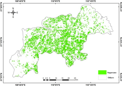 Thematic map of sugarcane areas in Suixi County.I request permission for the open-access journal PLOS ONE to publish Fig 7 under the Creative Commons Attribution License (CCAL) CC BY 3.0.
