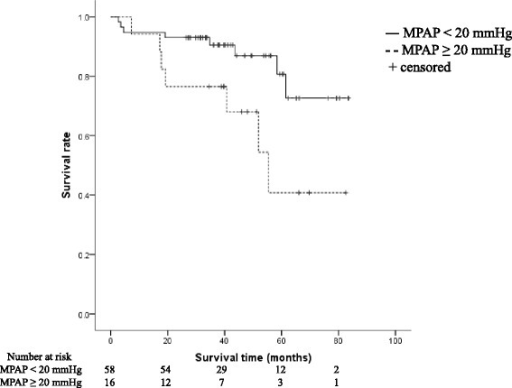 Kaplan-Meier curves for survival according to MPAP. Survival curves of patients with MPAP ≥ 20 mmHg and MPAP < 20 mmHg were compared and tested with log-rank statistics (p = 0.023)