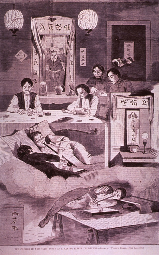 <p>Interior view of an opium den: Three people are smoking opium; two men are sitting at a table playing dominoes and two others stand nearby following the game's progress.  In another room in the background, others are seen sitting at a table.</p>
