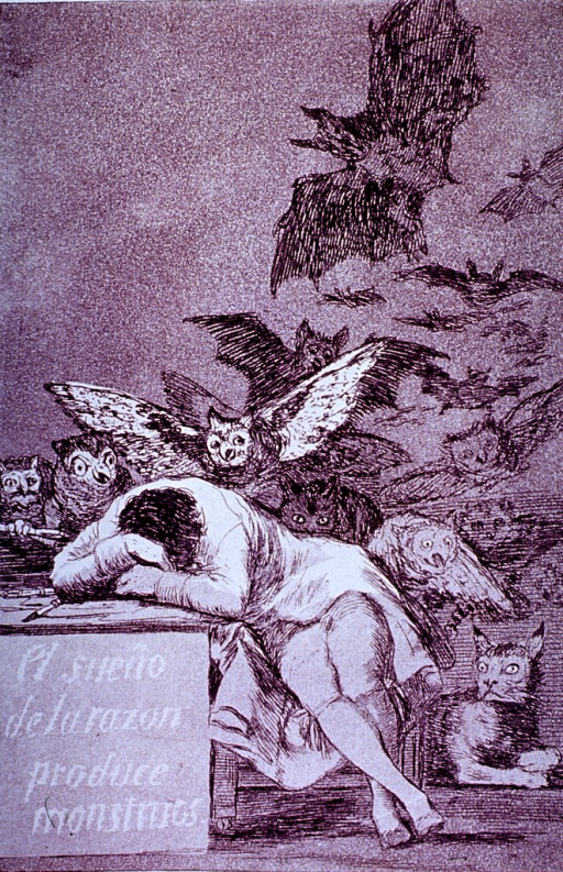 <p>A man sitting with his head down on a desk has visions of owls and bats flying at him from behind; a lynx lying on the floor lifts its head.</p>