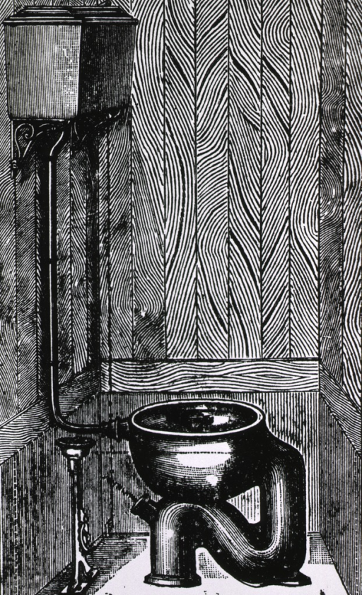<p>Interior view of stall with 'flush' toilet with elevated water tank.</p>