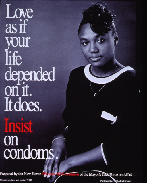 <p>Poster is a black and white photograph with white and red lettering. The initial title and subtitle superimposed vertically on the left side. On the right side of the photograph is an image of a young woman from the waist up. She is looking at the camera, wearing a dark outfit, and has her hands out in front of her. Publisher information is near the bottom of the poster, with design and photo credits at the very bottom.</p>