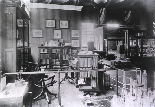 <p>View of a model United States Public Health and Marine Hospital Service office at the Jameston Ter-centennial Exposition; probably part of the Army and Navy Exhibits in the Government Building, West.</p>