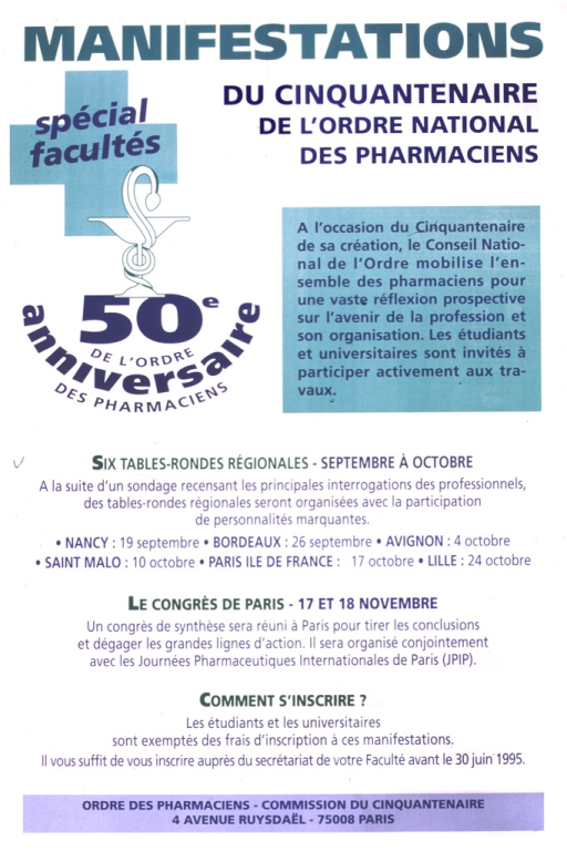 <p>Promotional poster for the 50th anniversary celebration of Ordre des pharmaciens.</p>