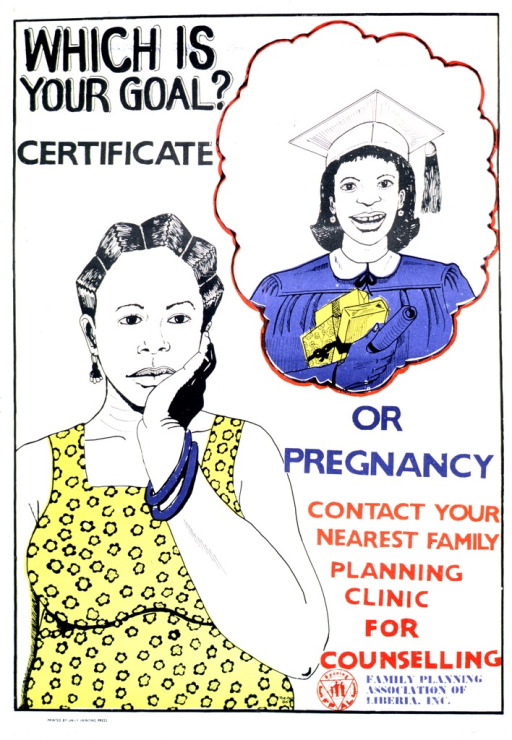 <p>White poster with multicolor lettering.  Initial title words in upper left corner.  Visual image consists of two illustrations of a young woman.  One shows the young woman in a cap and gown, holding a diploma and some gifts.  The illustration is enclosed in a thought bubble, as if a dream or idea.  The other illustration shows the young woman, possibly pregnant, in a thoughtful pose with her hand on her chin.  Remaining title words, note, and publisher information in lower right corner of poster.</p>