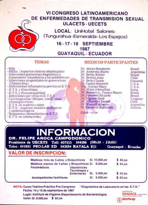 <p>White poster with multicolor lettering annoucing a conference in September 1987 in Ecuador.  Title at top of poster.  Illustration of an apple bearing interlocked male and female symbols to left of title.  A snake is wrapped around the apple.  Silhouette image of a male-female couple superimposed on a world map at center of poster.  Silhouette is a background to a list of conference themes and participants.  Conference registration information in lower portion of poster.  Sponsor information in lower right corner.</p>