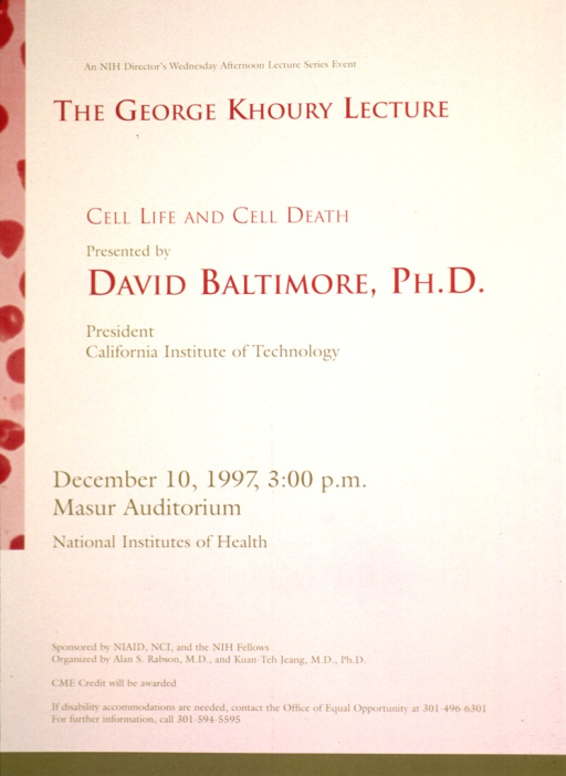 <p>Beige poster with dark red and medium shade of green print. Details of the lecture are given.</p>
