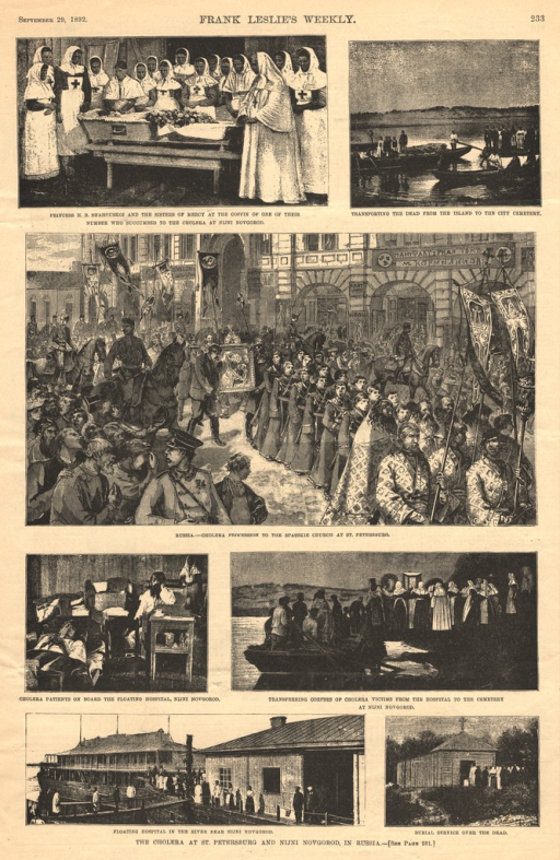 <p>Seven illustrations of various aspects of the cholera epidemic in Russia.</p>