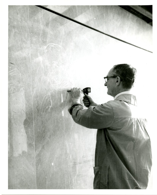 <p>Chiseling out three designs in the lobby of the National Library of Medicine, artist Paul Jennewein works on likenesses of Fielding Hudson Garrison, John Shaw Billings and Robert Fletcher.</p>