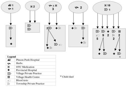 Patterns of help seeking by women with children with dengue.