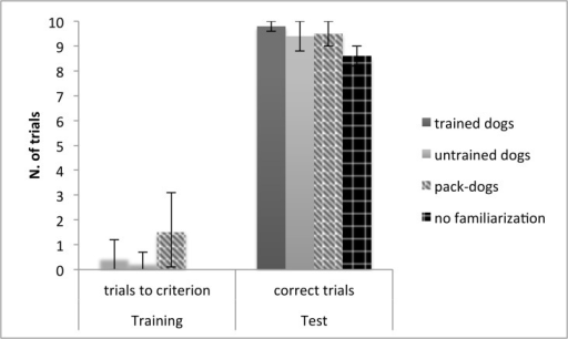 Pet- and pack- dog's performance in the cylinder task.Mean number (and 95% confidence interval) of trials to criterion in the training phase, and of correct trials in the test phase, for trained and untrained pet dogs and dogs tested with no prior familiarization with the opaque cylinder.
