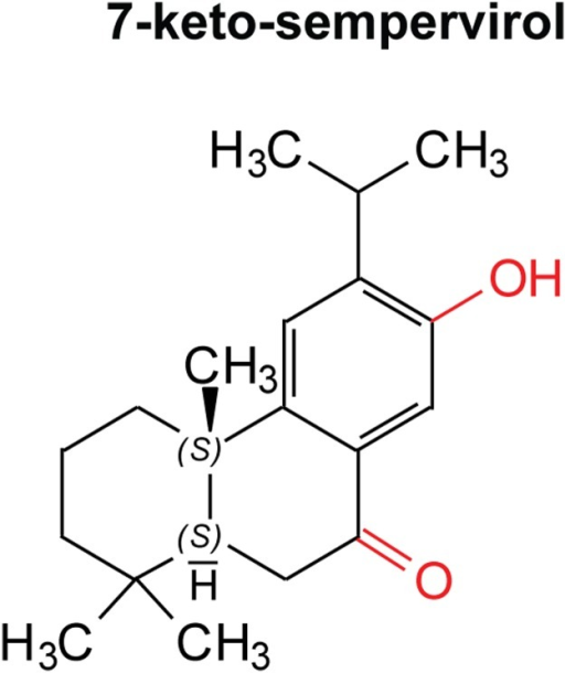 7-keto-sempervirol is a diterpenoid phenol derived from Lycium chinense.This compound possesses a diterpenoid (C20) (4 isoprene units) scaffold consisting of a single phenyl group, one hydroxyl group (red) and one carbonyl group (red). In light of Lipinski's rule of 5 (RO5) [57], this compound only possesses one violation to the rule (log p > 5), however, three out of the four core rules are satisfied.