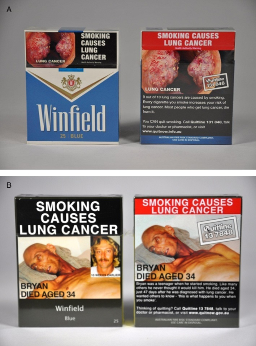 (A) Typical Australian tobacco packs, back and front before…(B)…and after the introduction of tobacco plain packaging. Source: Quit Victoria collection, 2012.