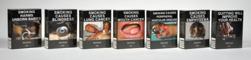 Winfield Blue 25s: packs showing the first set of seven health warnings. Source: Quit Victoria pack collection, December 2012.