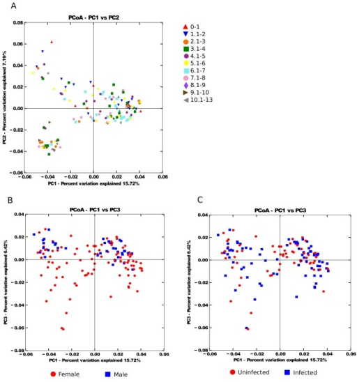 Principal CoOrdinates Analysis of the microbial community similarity by A) age range, B) sex, C) infection status.Distances between samples were calculated using unweighted UniFrac.