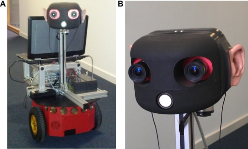 Robot and Robohead.A) The robot we use for evaluating the proposed approach. B) The robot is equipped with a rotatable head, which features an integrated camera, biologically-realistic pinnae, and in-ear stereo microphones.