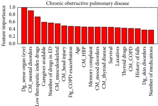 Ordered by their importance, the 20 variables with the greatest predictive value for readmission in the chronic obstructive pulmonary disease group.
