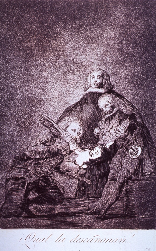 <p>Two men are plucking a small winged creature with a human upper torso; a third man sits stoically in the background.</p>