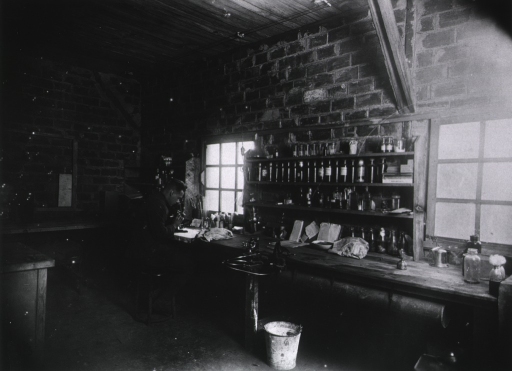 <p>Interior view: a man is seated before a window looking into a microscope; shelves of glass containers are over the laboratory bench; other laboratory paraphernalia is on the bench.</p>