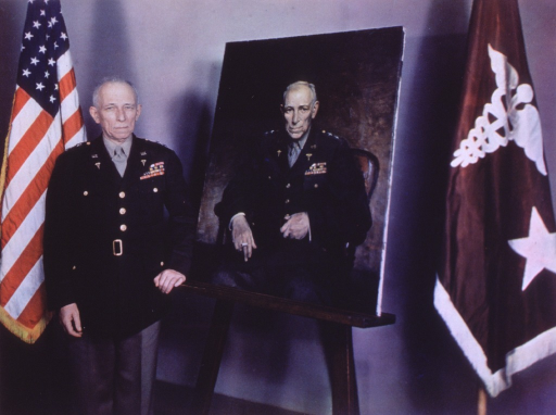 <p>Three-quarter length, standing, full face; wearing uniform; one hand on easel with portrait of himself.</p>