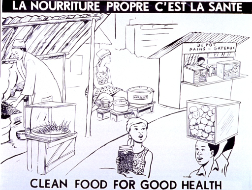 <p>Black and white poster.  French title at top of poster, English title at bottom.  Visual image is an illustration of a market scene.  Breads and shish kabobs are sold from two stalls.  A woman also sells beans on the street.  All of the vendors have their foods covered.  Two people walk through the market carrying containers of food.</p>