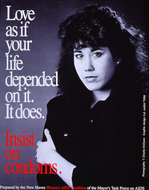 <p>Poster is a black and white photograph with white and red lettering. The initial title and subtitle superimposed vertically on the left side. On the right side of the photograph is an image of a young woman (with long dark hair) from the waist up. She is looking at the camera, wearing a dark outfit, and her left arm is across her body. Publisher information is near the bottom of the poster with the design and photo credits in the lower right-hand corner.</p>