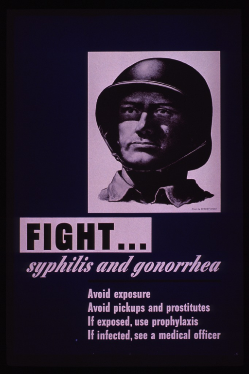 <p>Predominantly blue poster with black and white lettering.  Visual image is a reproduction of a drawing of a soldier's head and shoulders.  The soldier wears a helmet.  Title and caption below drawing.</p>