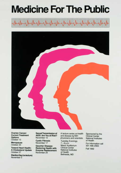 <p>The poster shows the profile silhouettes of five people, each partially on top of the other, representing different age groups and ethnic backgrounds.  A strip of printout from an EKG runs across the top of the poster.  Dates, times, and locations are listed, as well as a phone number for more information.  Topics listed for discussion include: Ovarian cancer: current treatment options; Menopause; Toward heart health: a cholesterol update; Sexual transmission of AIDS: are you at risk?; Cystic Fibrosis, Gaucher Disease: restoring health with enzyme replacement.</p>